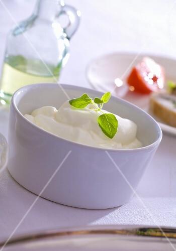 A bowl of sour cream