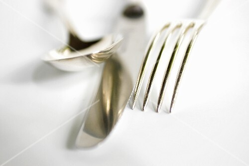 A knife, fork and spoon (detail, close-up)