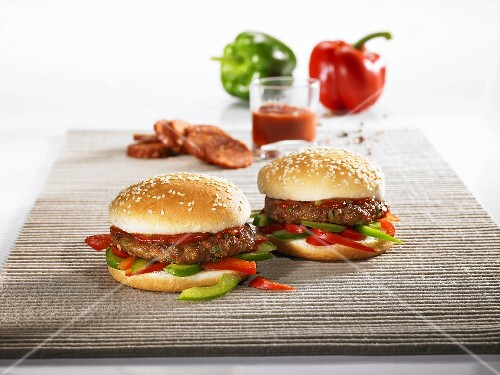 Hungarian-style hamburger with pepper strips