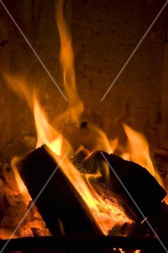 A burning wood fire