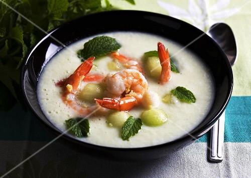 Cold melon soup with prawns