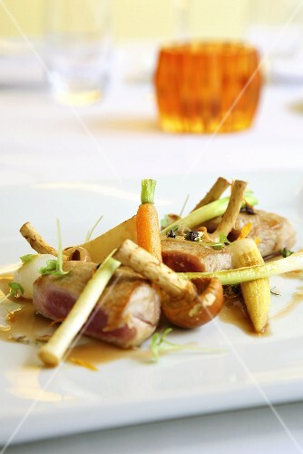 Pork fillet with roasted baby vegetables