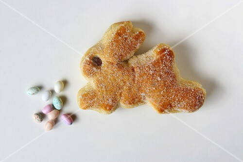 Baked Easter bunnies with sugar eggs