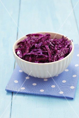 A bowl of chopped red cabbage