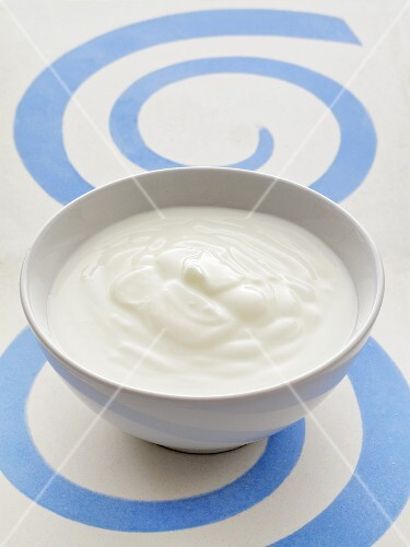Yogurt in a ceramic bowl