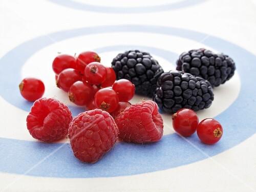 Fresh raspberries, redcurrants and blackberries