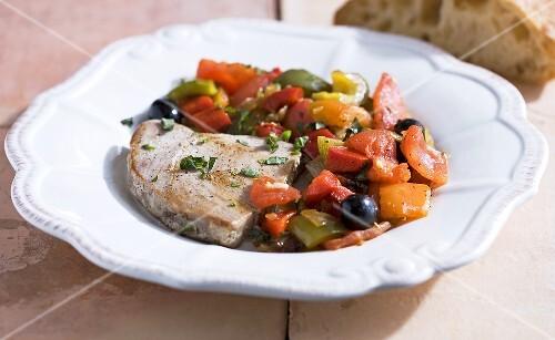 Tuna steak with ratatouille