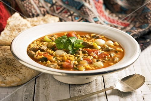 Harira (Lent soup, Morocco) with lamb, chickpeas, saffran and tomatoes