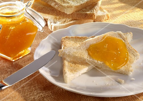 Slices of toast with pumpkin jam