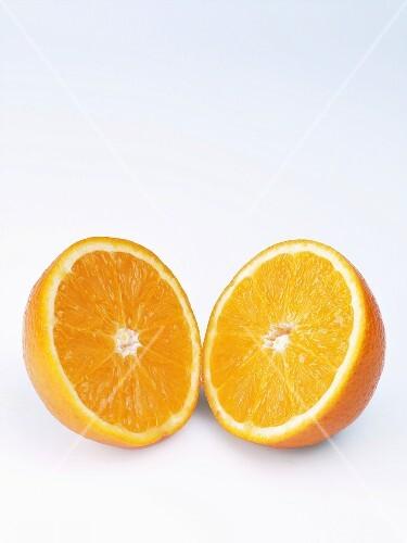 Two orange halves