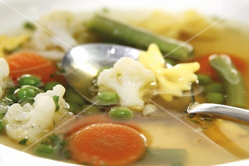Vegetable soup with farfalle