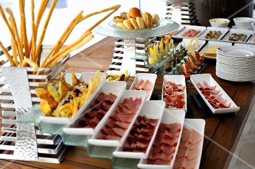 A breakfast buffet in a hotel