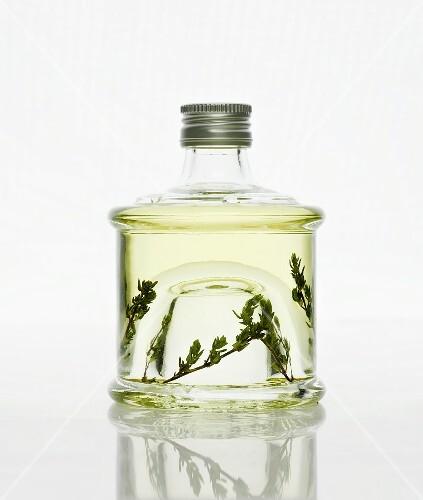 A bottle of thyme vinegar