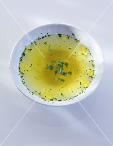 Clear broth with herbs