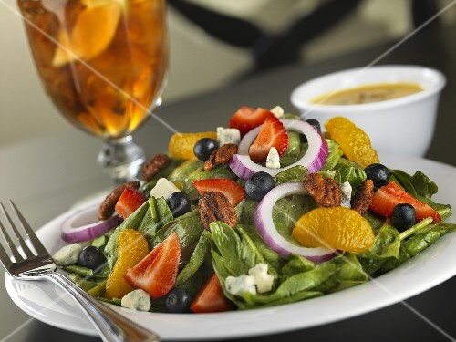Spinach Salad with Mandarin Oranges, Strawberries, Blueberries and Sweet and Spicy Pecans