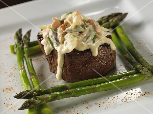 Beef Fillet Topped with Crawfish Hollandaise Sauce; With Asparagus