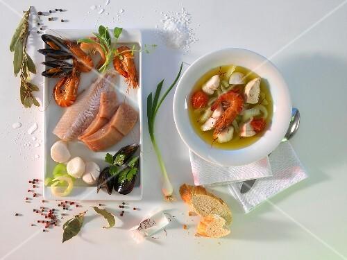Bouillabaisse with ingredients