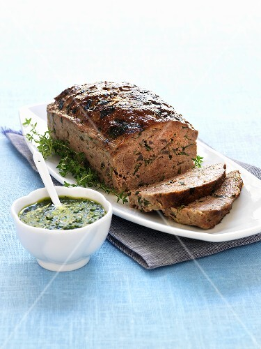 Meatloaf with herb sauce