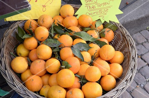 Fresh, organic oranges at the market