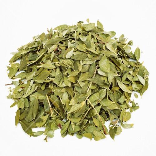 Dried leaves from the Buchu plant (Buccu, Barosma betulina, Agathosma betulina)