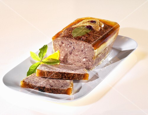 Venison pate with bay leaf