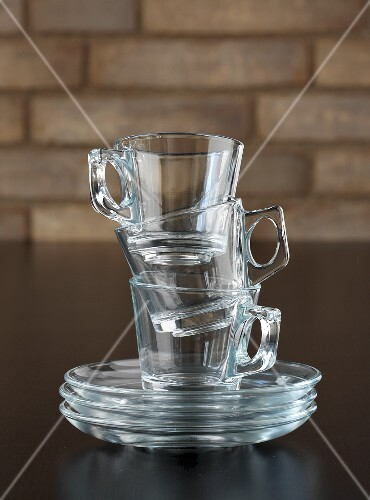 Stacked espresso cups made from glass