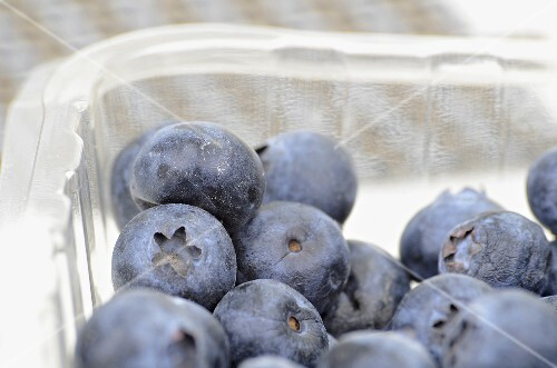 Blueberries in a plastic box