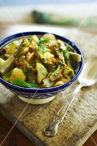 Moroccan Potato and Artichoke Salad with Harissa Dressing