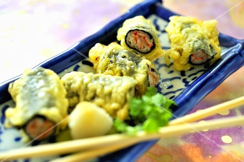 Maki with surimi in tempura batter