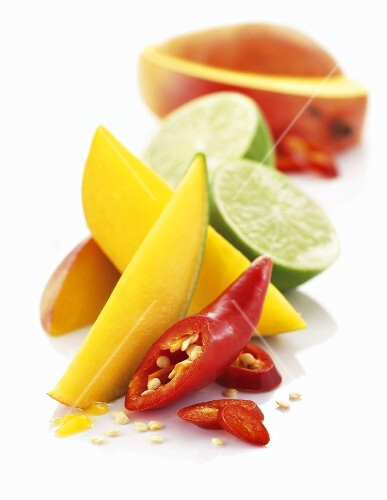 Mango, limes and chili peppers
