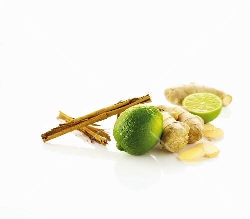 Limes, ginger and cinnamon stick