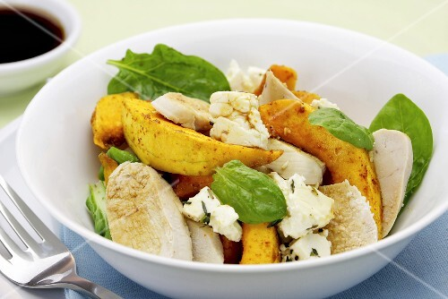 Fried butternut squash, poached chicken, spinach and feta salad