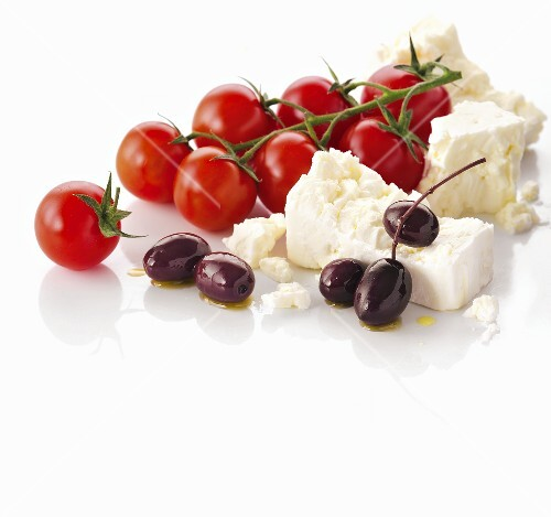 Feta, cherry tomatoes and olives