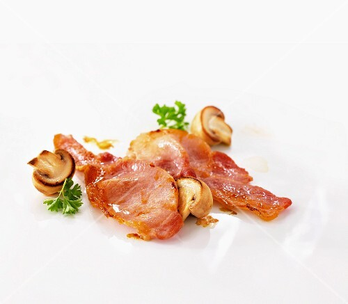 Fried bacon and mushrooms