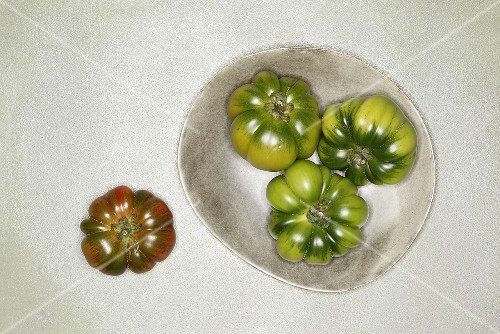 Red and green beefsteak tomatoes
