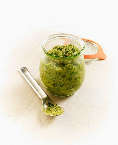 Homemade salsa verde in a jar