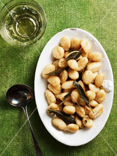 Ricotta gnocci with sage (seen from above)