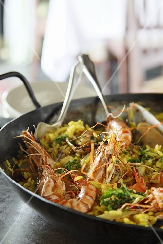 Paella with prawns