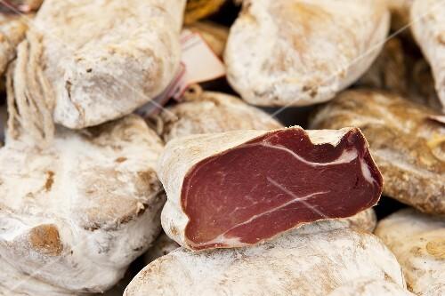 Raw ham on the market