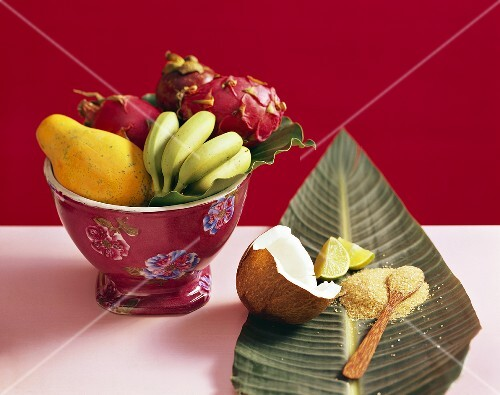 Exotic still life with fruit and nuts