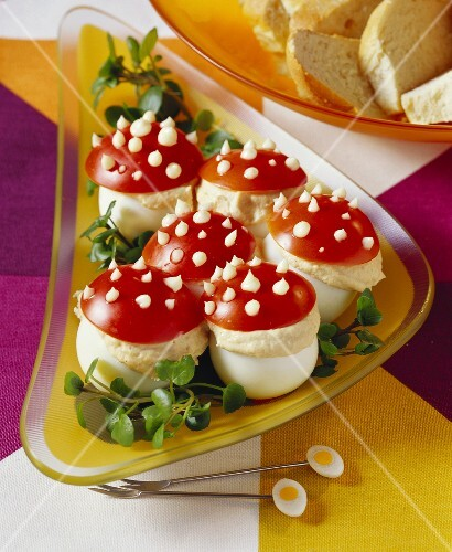 Fly agaric eggs with tuna cream