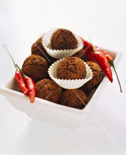 Chocolate truffles with chili peppers