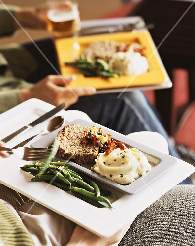 Meat loaf with pepper relish, mashed potato and beans