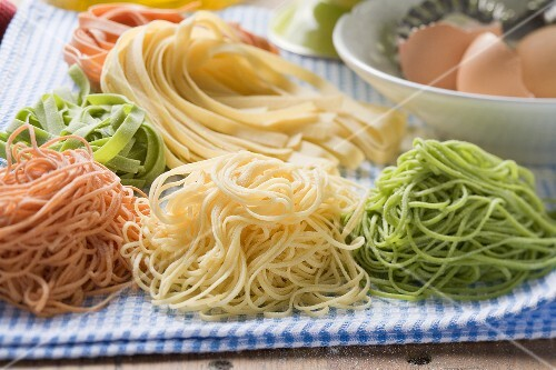 Home-made pasta with ingredients