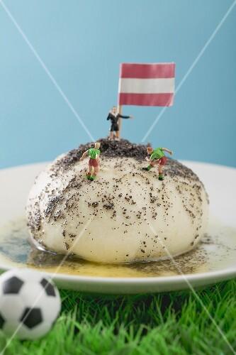 Yeast dumpling with Austrian flag, football figures & football