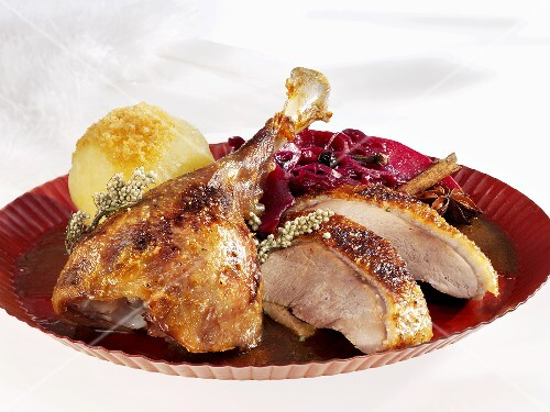 Roast goose with red cabbage and potato dumpling