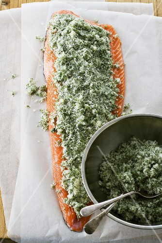 Tasmanian salmon fillet with herb marinade