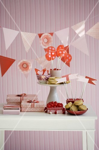 Table Set with Sweets for Valentine's Day