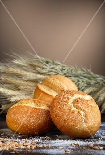 Fresh bread rolls with wheat