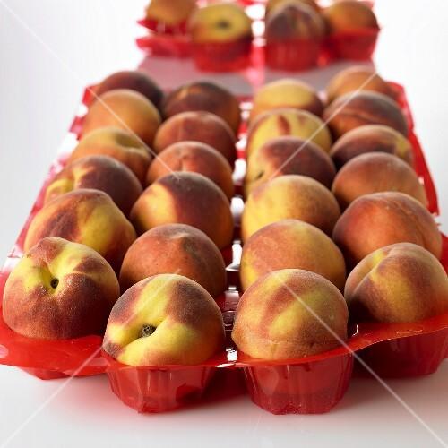 Peaches in plastic tray